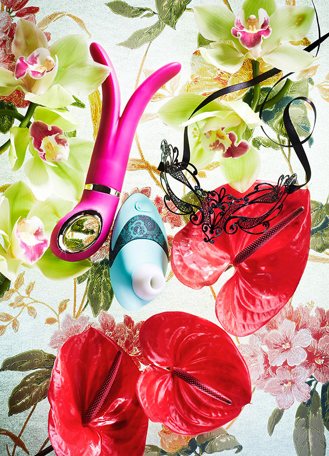 sextoys like G VIbe or womanizer with cymbidium on a canvas